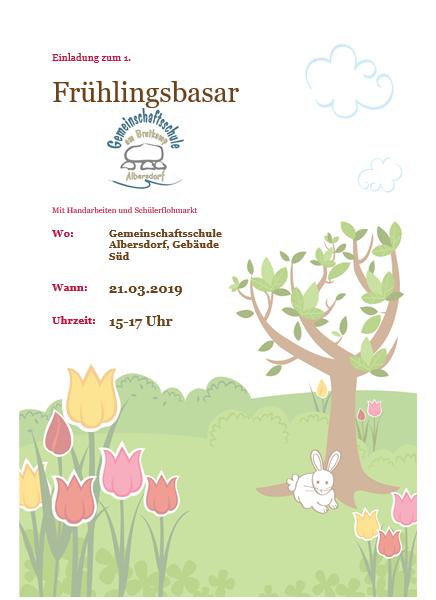 Einladung zum 1. Frühlingsbasar
